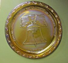 BEAUTIFUL INDIANA CARNIVAL GLASS MARIGOLD AMBER LIBERTY BELL U.S. BICENTENNIAL