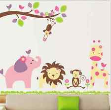 Jungle Animal Zoo Wall Stickers Nursery Girls Childrens Bedroom Art Decals  UK Part 82