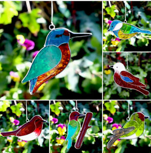 Suncatcher Robin Blue Tit Jay kingfisher Bird stained Glass window garden gift