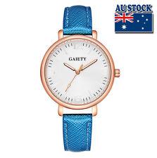 Fashion Blue Leather Steel White Dial Quartz Watch Women Lady Wrist Watch