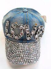 "Women Rhinestone Crystal "" LOVE "" Studded Blue Denim Baseball Bling Cap"
