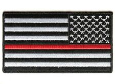 "(B34) REVERSED RED LINE US FLAG 3.5"" x 2"" iron on patch (4450) Firefighter"