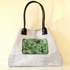 SAC femme vrai cuir blanc vert argent shopper made italy bag élégant сумка B05