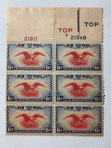US Stamp Scott C23 6c Eagle & Shield Top Plate Block, Vertical 6 Rare?
