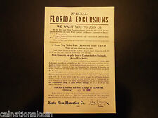 1911 Florida Excursions train ticket information