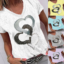 Summer Women V Neck Short Sleeve T Shirt Casual Print Blouse Loose Fit Tunic Top