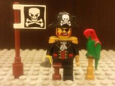 Lego NEW Pirate Captain Brickbeard Minifigure With Parrot And Skull Flag