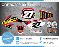 HONDA CRF70 STYLE DECALS STICKERS / FULL GRAPHICS KIT80/90/100/140/160/200CC