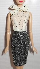DRESS ONLY ~ BARBIE DOLL POSABLE SILKSTONE BLACK & WHITE TWEED SUIT SKIRT BLOUSE