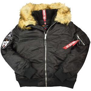 Alpha Industries Herren Jacke MA-1 Hooded Arctic 128110 Bomberjacke Schwarz 6585
