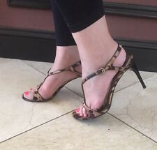 Dolce & Gabbana Leopard T-Strap Sandal Heels Shoes 40/10