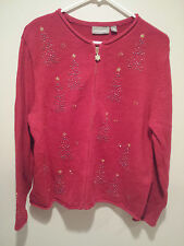 Vintage Ugly Christmas Sweater Tacky - Medium M Red Croft & Barrow Holiday Trees
