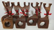 Christmas Reindeer Wood Napkin Ring Holders Set of 8