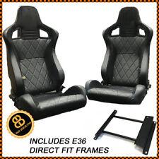 BB6 Reclining Tilting Bucket Seats Black Diamond Stitch / Alacantra Fits BMW E36