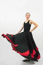 Black Flamenco 8-gore skirt with contrast red  flounces SMALL ADULT size
