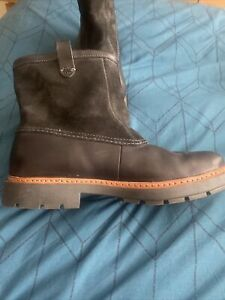Mens Clarks Boots Black Leather Uk 9 Worn Twice