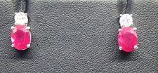 925 Sterling Silver Ruby & White Topaz Earrings - BNIB Seller Ref 757