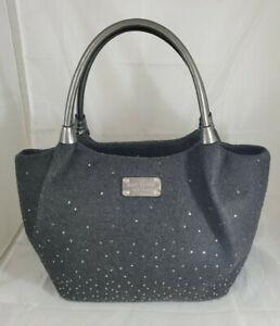 Kate Spade Gray Felt Rhinestone Detail Winter Large Purse Satchel Handbag USED