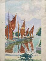 Impressionista Barche a Vela Braune Marrone Vele Lago di Garda Comer Italia