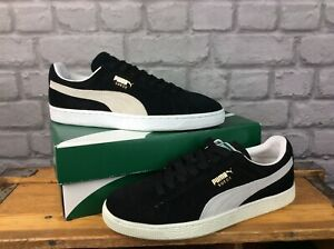 PUMA MENS SUEDE CLASSIC ECO BLACK WHITE TRAINERS RRP £65 VARIOUS SIZES  EP