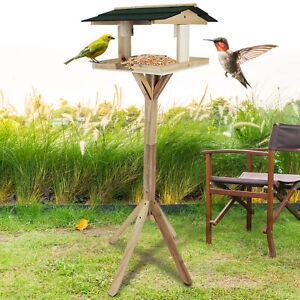 Bird Feeder House Feeding Garden Wooden Table Nest Traditional Free Standing
