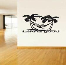 Wall Vinyl Sticker Decals Art Decor Palm Tree Life Is Good Vacation Ocean  #215