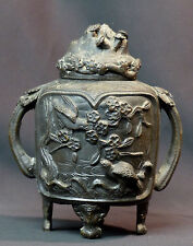 AA 19èm chine élégant pot couvert urne bronze 1.8kg21c cerisier oiseau relief