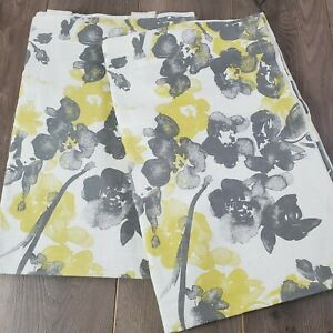 "Threshold Watercolor Vines Gray Yellow Floral Curtain Drape (2) 54"" x 80"" Panels"
