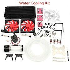 Water Cooling Kit 240 Radiator CPU GPU Block Pump 190mm Reservoir Tubing Barb US