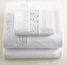 L.L. Bean Shabby Chic White Heirloom Crochet Lace Twin Sheet Set NEW 200 Thread