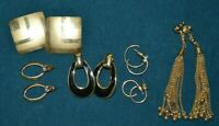 Lot of 6 Pair Gold Tone Vintage Earrings Pierced Hoops Dangles Jewelry