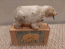 Vintage 1950's Japan Ksk Wind-Up Polar Bears With Original Box Works E4