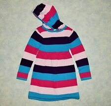 Girls size 3T Flapdoodles Long Sleeve Hooded Sweater Dress Block Striped