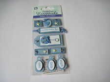 Scrapbooking Crafts Sandylion Dimensional Stickers Baby Boy Tags Blue Rattle