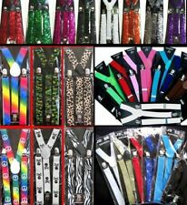 Suspenders Braces Sequin Glitter Coloured Camo Skulls Rainbow Costume Party