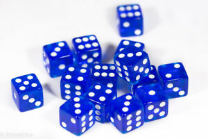 NEW 15 Transparent Blue w/ White Pip Bunco Gaming Dice Set 16mm D6 Great Quality