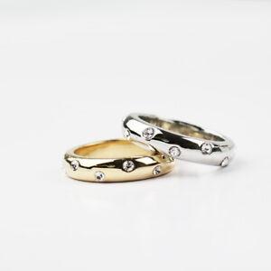 Stunning 18K White Gold / Gold GP Classic Wedding Band Engagement Ring Size 6-10
