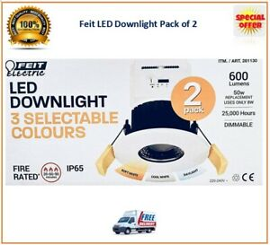 Feit LED Fire-Rated Downlight with 3-Colour Temperatures  Warm Cool White