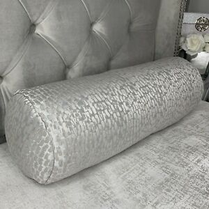 """16""""x6"""" Cushion Bolster 100% Duck Feather Antelope Dove Grey Luxury Homes"""