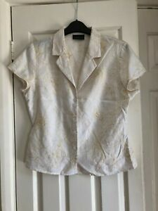 Alex & Co 100% linen cream& yellow patterned short sleeve collared blouse, UK 10