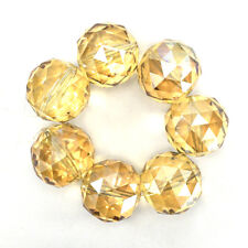 "30mm faceted crystal round beads 8"" strand citrine"