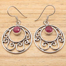 925 Silver Plated Red Simulated RUBY Earrings ! COMBINED SHIPPING CHEAP JEWELRY