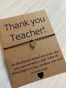 💕Thank You Teacher Love Heart Charm Friendship Wish bracelet Gift 💕