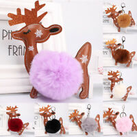 KE_ Christmas Deer Plush Pompom Ball Keychain Car Key Ring bag Pendant Decor F