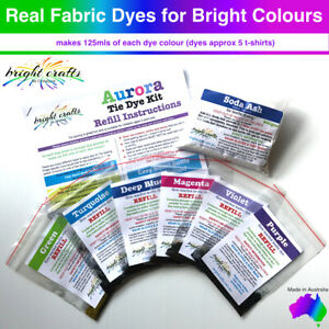 Tie Dye Kit REFILL 6 colours Purple, Green, Blue real fabric dyes bright colours