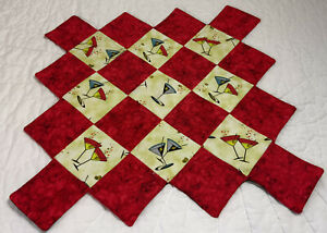 Patchwork Quilt Table Toper, Four Patch Squares, Martinis, Red, Reversible