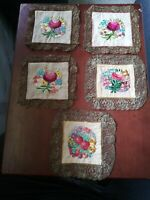 VINTAGE HAND STITCHED DOILY LINEN COASTER LOT OF 5