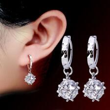 925 Sterling Silver Square Zircon Earrings For Women Retro Style Jewelry