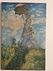 CLAUDE MONET VINTAGE HANDMADE OIL PAINTING ON CANVAS,SIGNED,W/GALLERY STAMPS