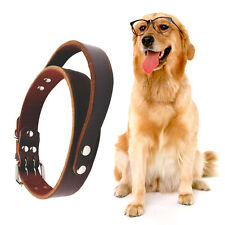 19-23'' Brown Genuine Leather Dog Collar with Handle for Large Dogs Pitbull